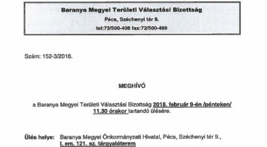 Baranya Megyei Területi Választási Bizottsági Meghívó
