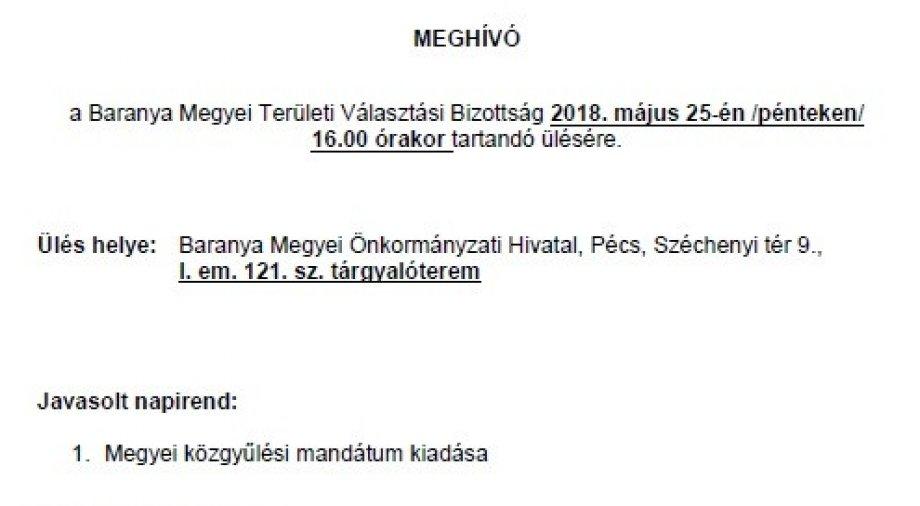 Területi Választási Bizottság meghívó