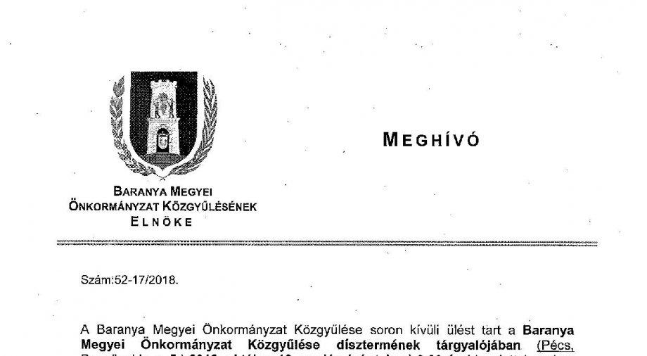 Meghívó a Baranya Megyei Önkormányzat Közgyűlésének 2018.10.12-i ülésére