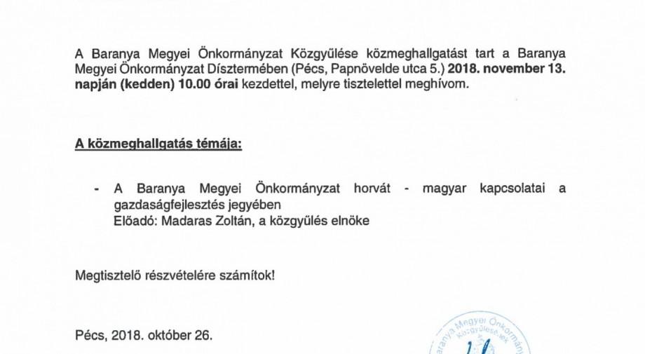 Meghívó a Baranya Megyei Önkormányzat Közgyűlésének 2018.11.13-i ülésére